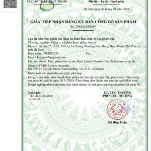 giấy chứng nhận Lalisse Prostate Health Management