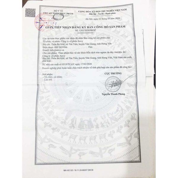 giấy chứng nhận của Anvitra vàng