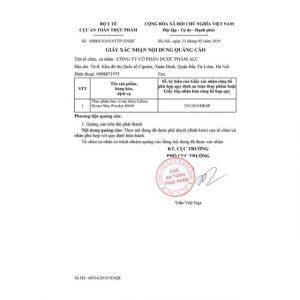 giấy phép quảng cáo của Tinh hàu Lalisse Oyster Max Powder 40000