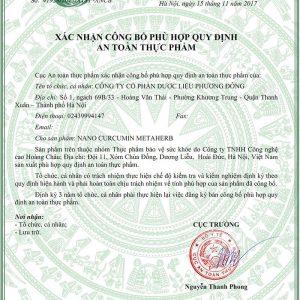 giấy chứng nhận Nano curcumin metaherb