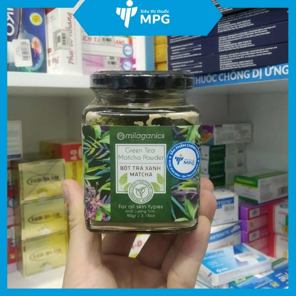 Bột trà xanh Milaganics dưỡng trắng da