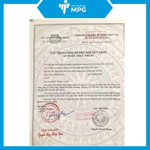 chứng nhận Sữa Nepro 1 Gold