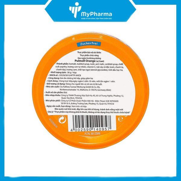 Pulmoll Orange Vitamin C kẹo hỗ trợ trị ho của Đức