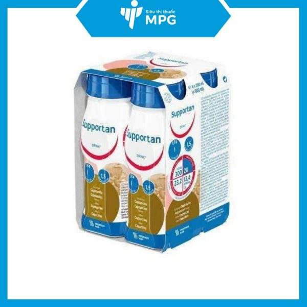 lốc 4 chai sữa Supportan Drink Cappuccino 200ml